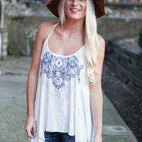 Dream Catcher Printed Tank - White