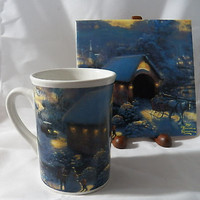 Thomas Kinkade 2008 Winter Evening Memories Tile and Mug Set