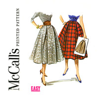 1950s Full Skirt Vintage Sewing Pattern Waist 28 McCalls 3853 Softly Pleated Flared Circular with Side Pleats and Cummerbund Rockabilly