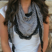 lace striped scarf