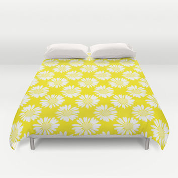 Yellow Flowers Duvet Cover by Ornaart