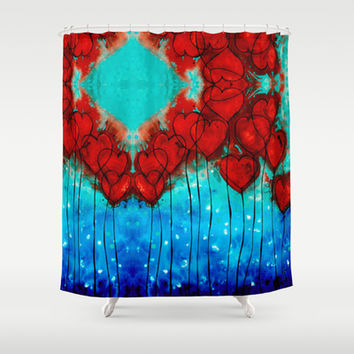 Hearts On Fire Patterns - Romantic Art By Sharon Cummings Shower Curtain by Sharon Cummings | Society6
