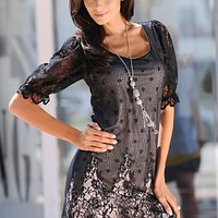 Black (BK) Lace Scoop Neck Dress