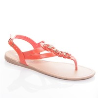 Entwined Edge Flat Woven Chain Thong Sandals - Coral