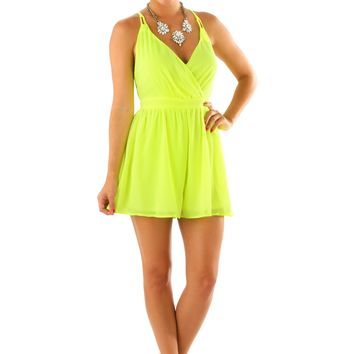 When The Sun Comes Up Romper: Neon Yellow