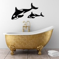 Wall Vinyl Decal Sticker Art Design Killer Whalefish Bathroom Shower Nursery Room Room Nice Picture Decor Hall Wall Chu693