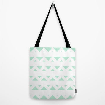Tribal Triangles Mint Green Tote Bag by BeautifulHomes | Society6
