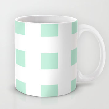 Cross Squares Mint Green Mug by BeautifulHomes | Society6