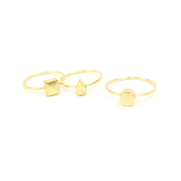 Shapes Midi Ring Set