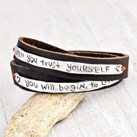 Trust Yourself Boho Wrap Bracelet - Inspirational Jewelry - Leather Bracelet - B353