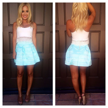 Bandage Flare Skirt - MINT BLUE