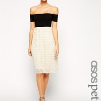 ASOS PETITE Bardot Midi Skater Dress With Spot Pleated Lace