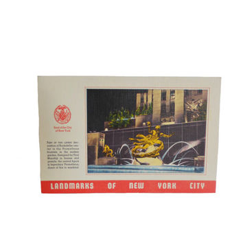 Vintage 1940s Postcard Linen - New York City Landmarks - Prometheus Fountain at Rockefeller Center - Unused