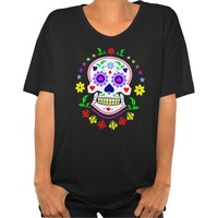 Day of the Dead Sugar Skull Woman's Oversized Tee Shirt. Dias los muertos. ladies t-shirt top tops clothes clothing