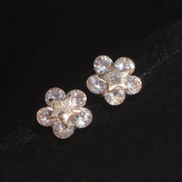 Star On Flower Rhinestone Earrings