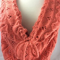 Hand knit Wrap Scarf Neckwarmer Caron Persimmon Ladder Lace Pattern