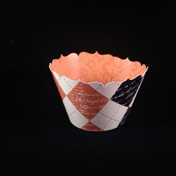 Cupcake Wrapper Halloween Orange and Black Argyle/ Reversible - Limited Supply