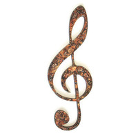 Treble Clef G Clef Wall Hanging in textured copper faux finish, music decor, musical wall decor, industrial decor