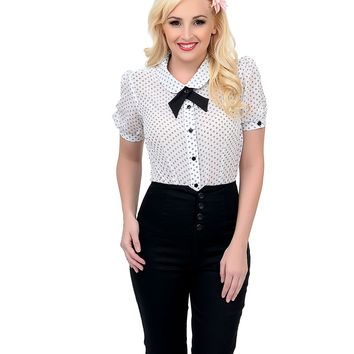 Black & White Button Up Claudette Top