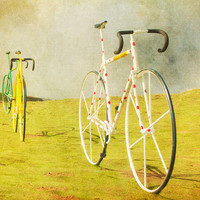 Bicycle photo biker bikes mustard yellow bicycle print by bomobob