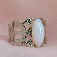 Opal Ring Silver Adjustable Opal Rings by pinkingedgedesigns