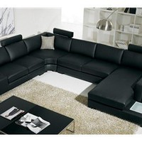 T35 Sectional Sofa Black Italian Leather