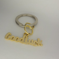 Good Luck  Key Ring  Silver and Gold Tone by toppytoppy on Etsy