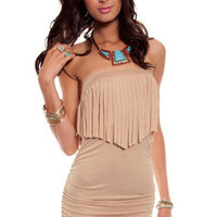Pocahontas Dress in Beige :: tobi