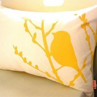 Yellow Print on Offwhite Bird on Cherry Blossom Pillow by joom