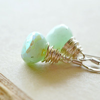 Pale Mint Earrings Mystic Chrysoprase Gemstones by waterwaif