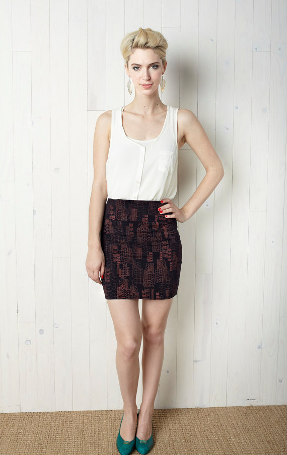 $52.00 Feather Cities Printed High Waisted Mini Skirt by makeitgoodpdx