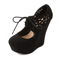 Cut-Out Lace-Up Mary Jane Platform Wedges by Charlotte Russe - Black