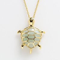 18k Gold Over Silver Jade Turtle Pendant