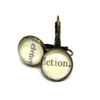 Science Fiction Recycled Library Card Word Earrings by writtennerd
