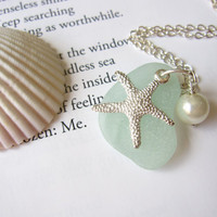 Seafoam Sea Glass Starfish Necklace by SeaglassGallery