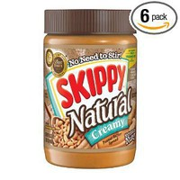 Skippy Peanut Butter, Natural Creamy, 15-Ounce Jars (Pack of 6)