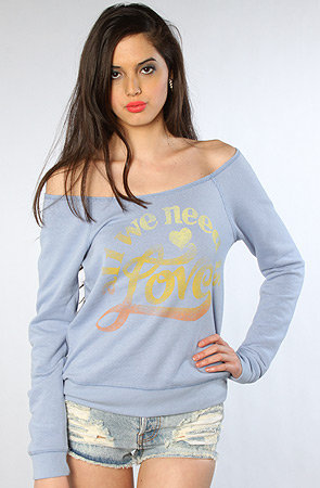 Junkfood Clothing The All We Need Is Love Off Shoulder Sweatshirt : Karmaloop.com - Global Concrete Culture