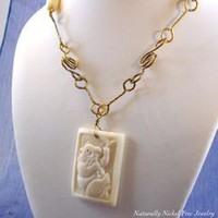 Panda Vine Necklace, Carved Bone with Brass 22 inch - Naturally Nickel Free