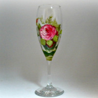 Hand painted crystal champagne flute with by PaintedDesignsByLona
