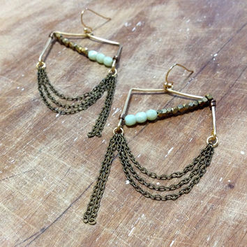 gold and mint green chandelier earrings // military inspired earrings // hand forged earrings // hammered earrings // chain earrings
