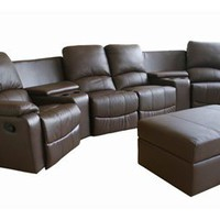 Home Theater Seating Curved Row Of 4 Brown Set, Modern Home Theater Seats Set: Nyfurnitureoutlets.com