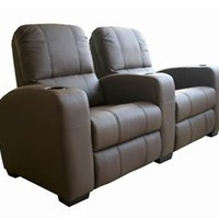 Home Theater Seating Row Of 2 Brown, Leather Home Theater Seats: Nyfurnitureoutlets.com