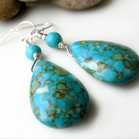 TurquoiseTeardrop earrings Turquoise glass  Fire by ByGerene