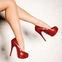 Bordello Shoes - Red Glitter Cheetah Retro Platform Shoes | Pinup Girl Clothing