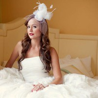 The Caroline Posh Bridal Fascinator with Small French by Serephine