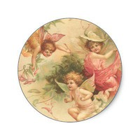 vintage angels round stickers from Zazzle.com