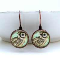 Regal Owl Earrings Glass Art Earrings in Vintage by Lizabettas