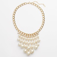Jennifer Lopez Gold Tone Simulated Crystal& Simulated Pearl Bib Necklace