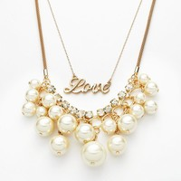 Jennifer Lopez Gold Tone Simulated Pearl & Simulated Crystal Love Multistrand Swag Necklace