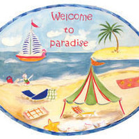Welcome To Paradise Beach Wall Plaque